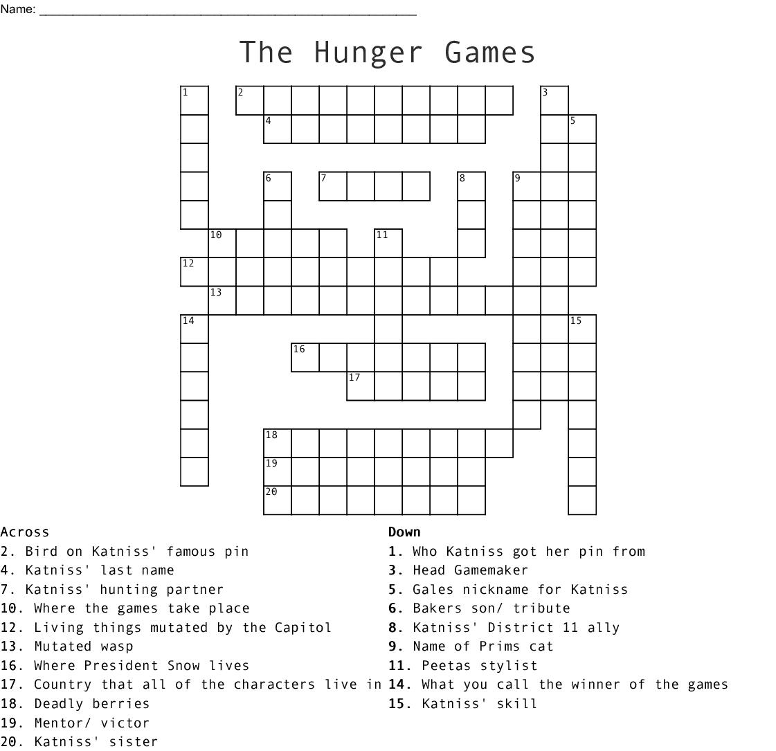 The Hunger Games Crossword - Wordmint - Hunger Games Crossword Puzzle Printable