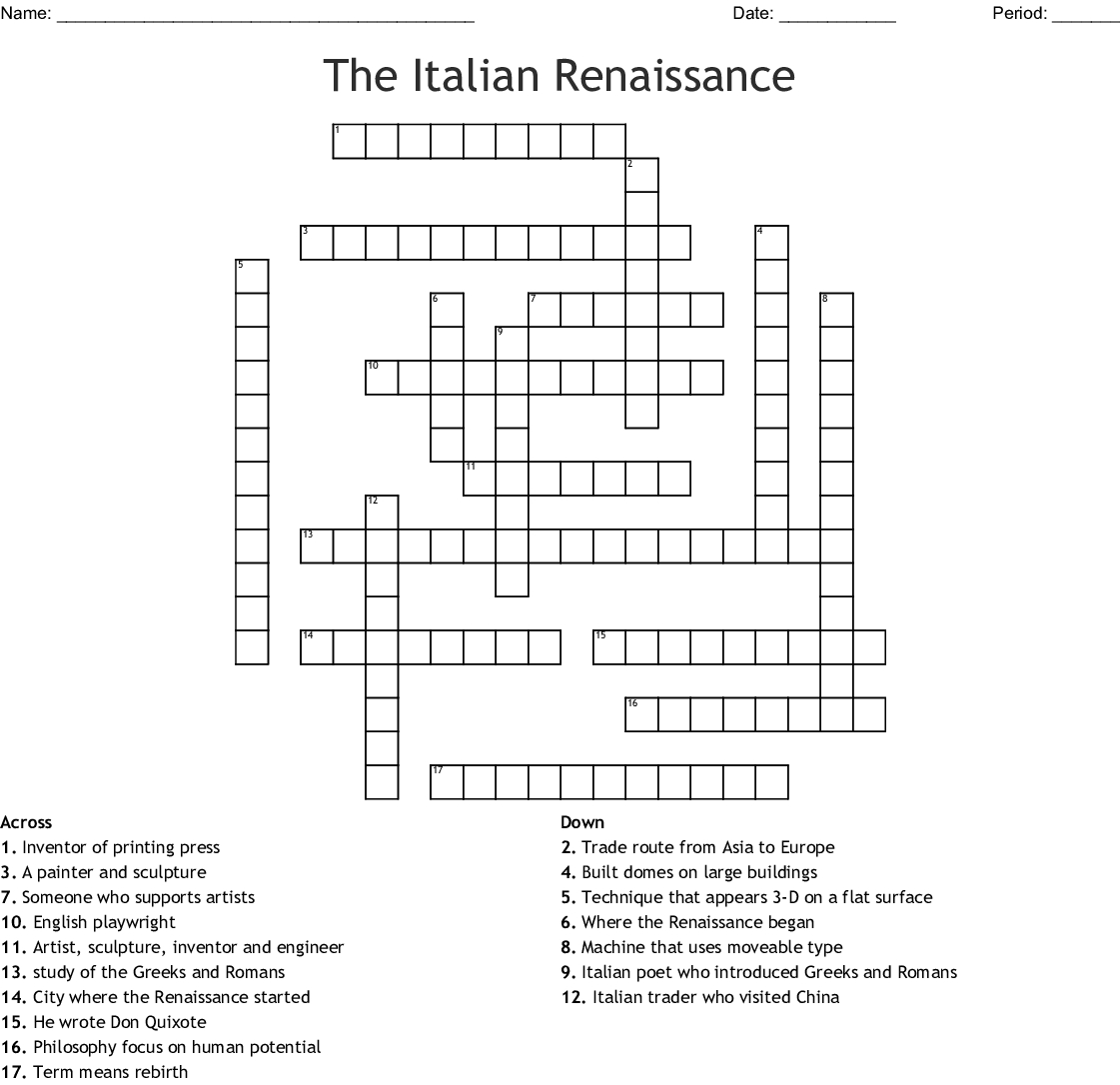 The Italian Renaissance Crossword - Wordmint - Printable Crossword Puzzles In Italian