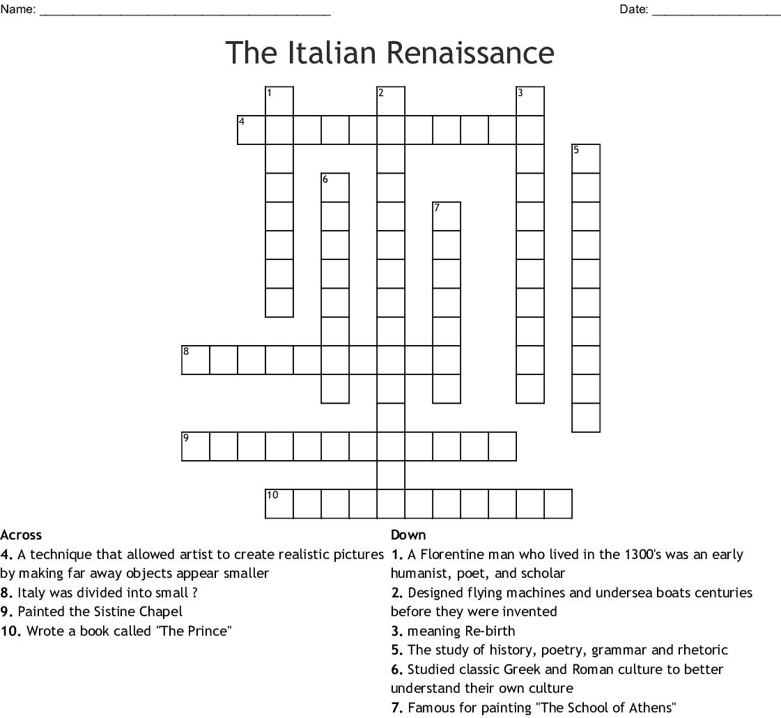 The Italian Renaissance Crossword - Wordmint - Renaissance Crossword Puzzle Printable