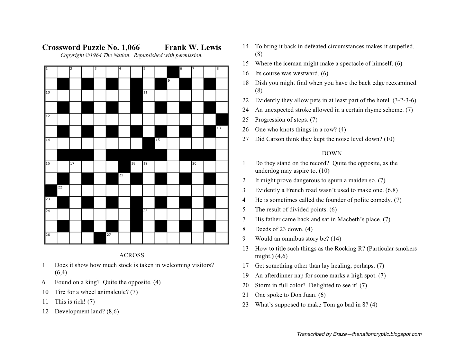 The Nation Cryptic Crossword Forum: Nat Hentoff (Puzzle No. 1,066) - Printable Diagramless Puzzles