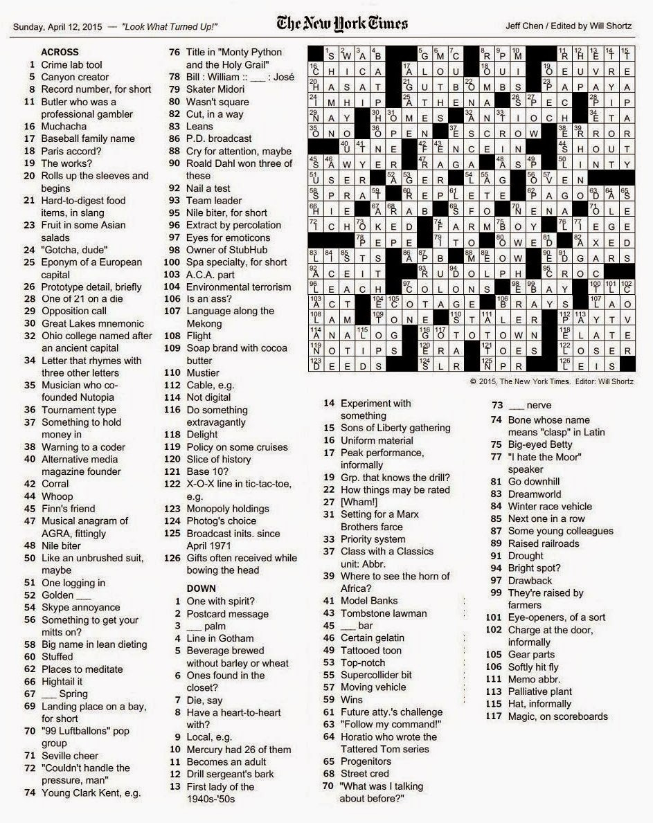 The New York Times Crossword In Gothic: 04.12.15 — Look What Turned - Will Shortz Crossword Puzzles Printable