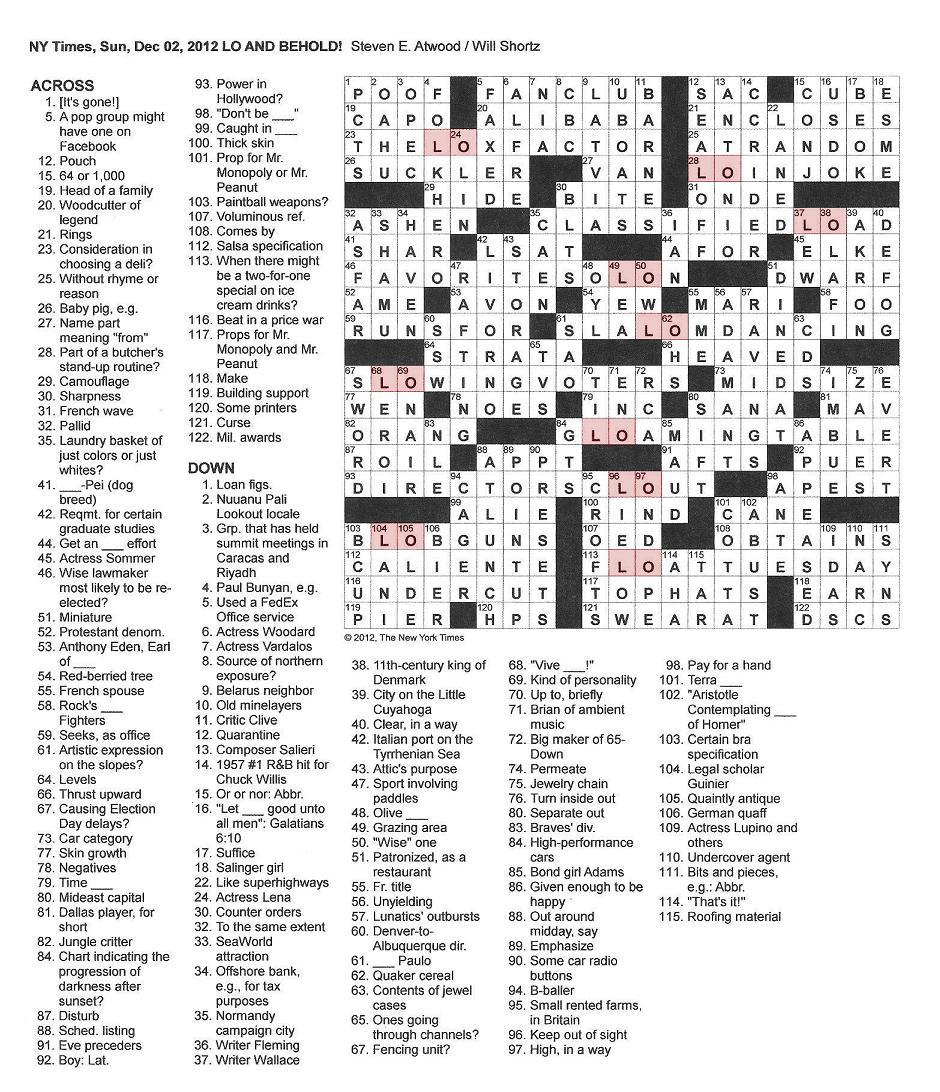 The New York Times Crossword In Gothic: 12.02.12 — Lo And Behold - Printable Crossword Puzzles New York Times Free