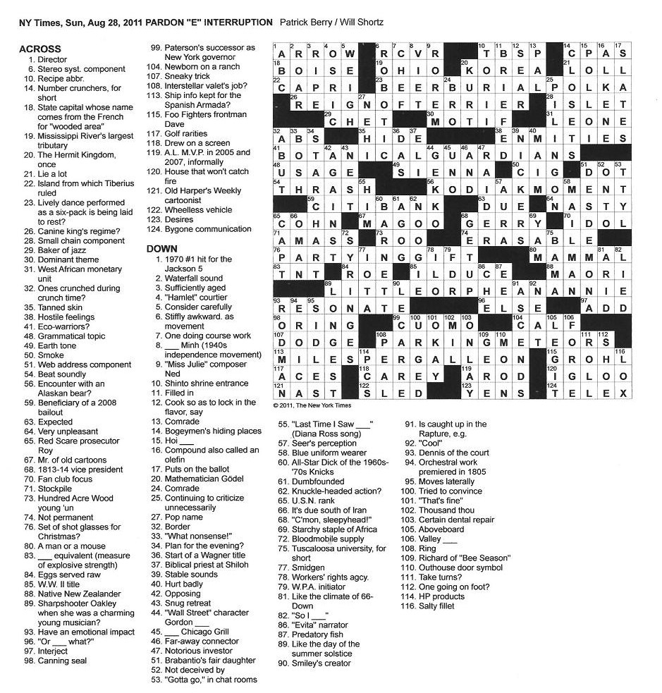 The New York Times Crossword In Gothic: August 2011 - Universal Crossword Puzzle Printable