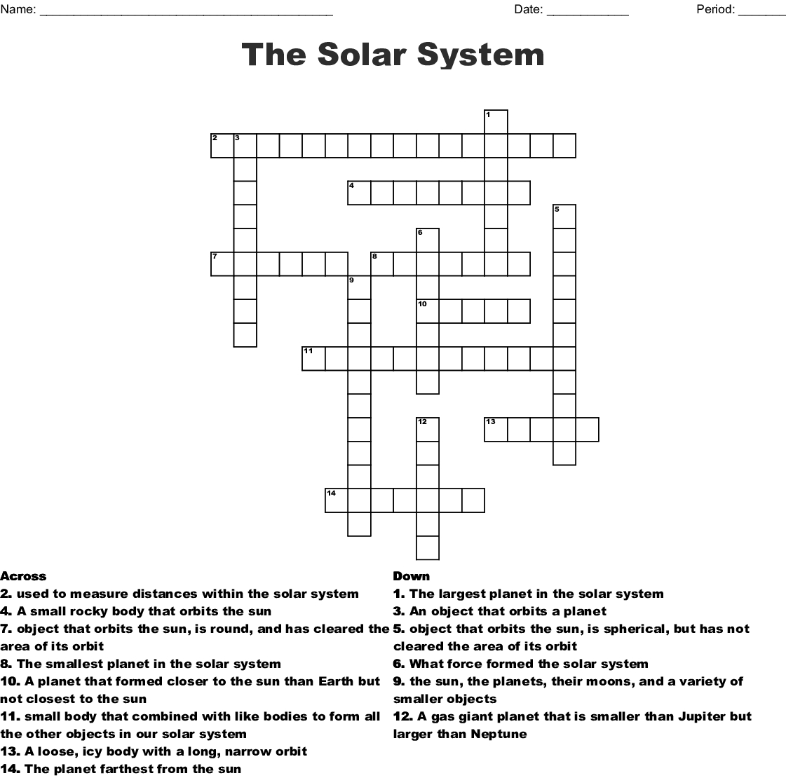 The Solar System Crossword - Wordmint - Solar System Crossword Puzzle Printable