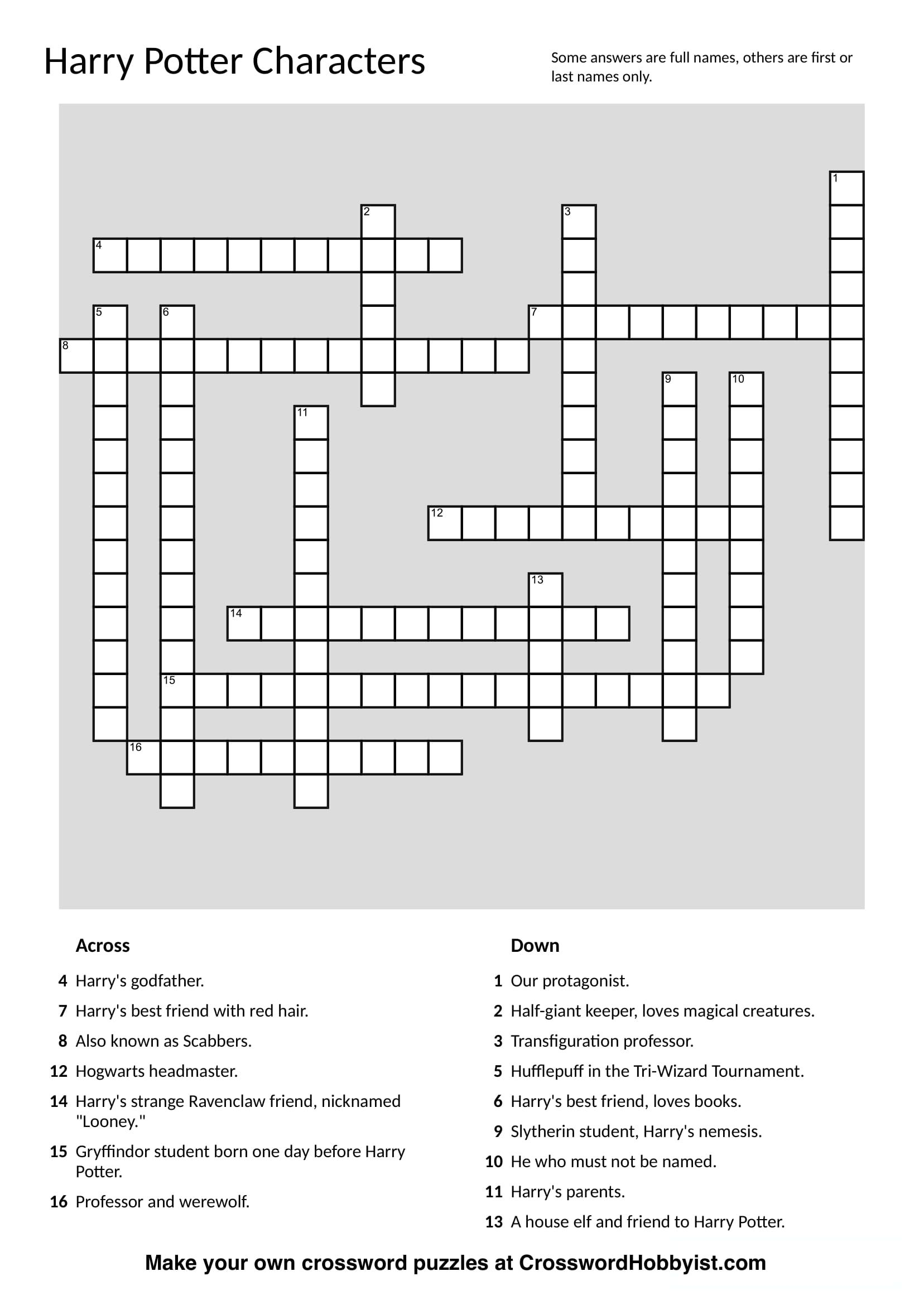 This Harry Potter Characters Crossword Puzzle Was Made At - Create Own Crossword Puzzles Printable