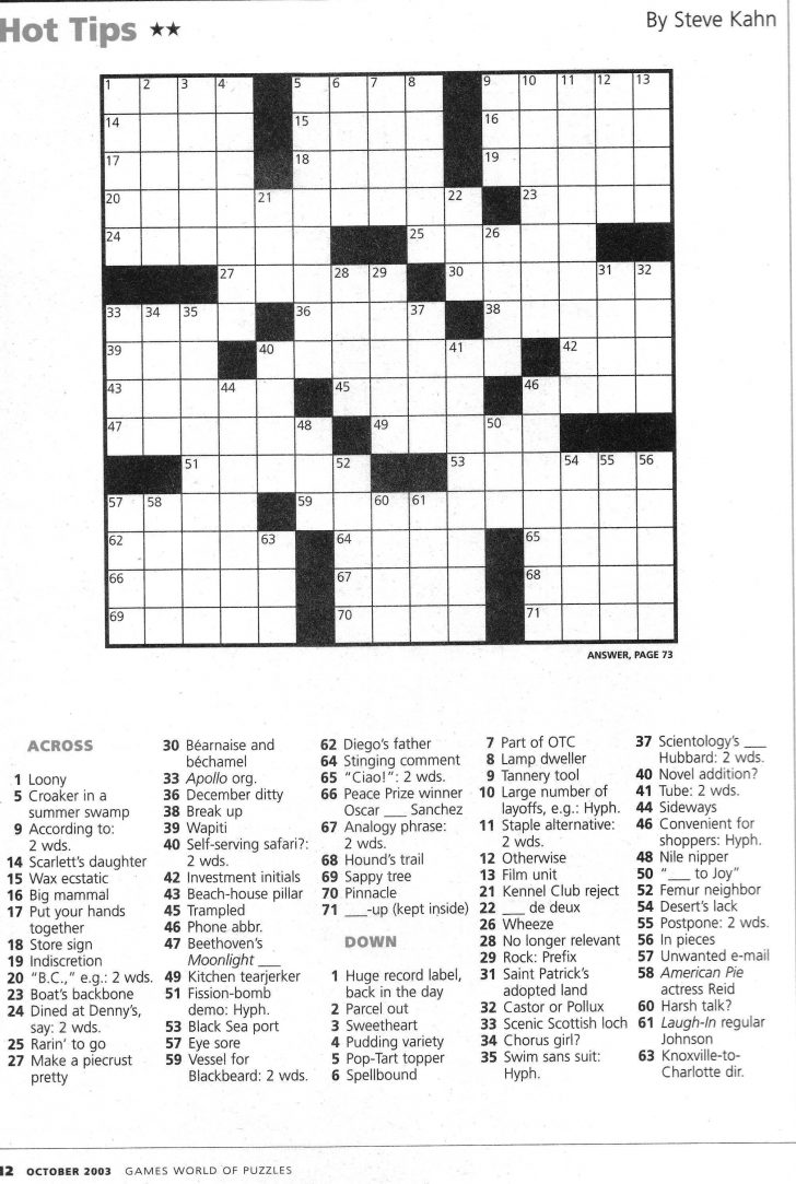 Printable Crossword Clue