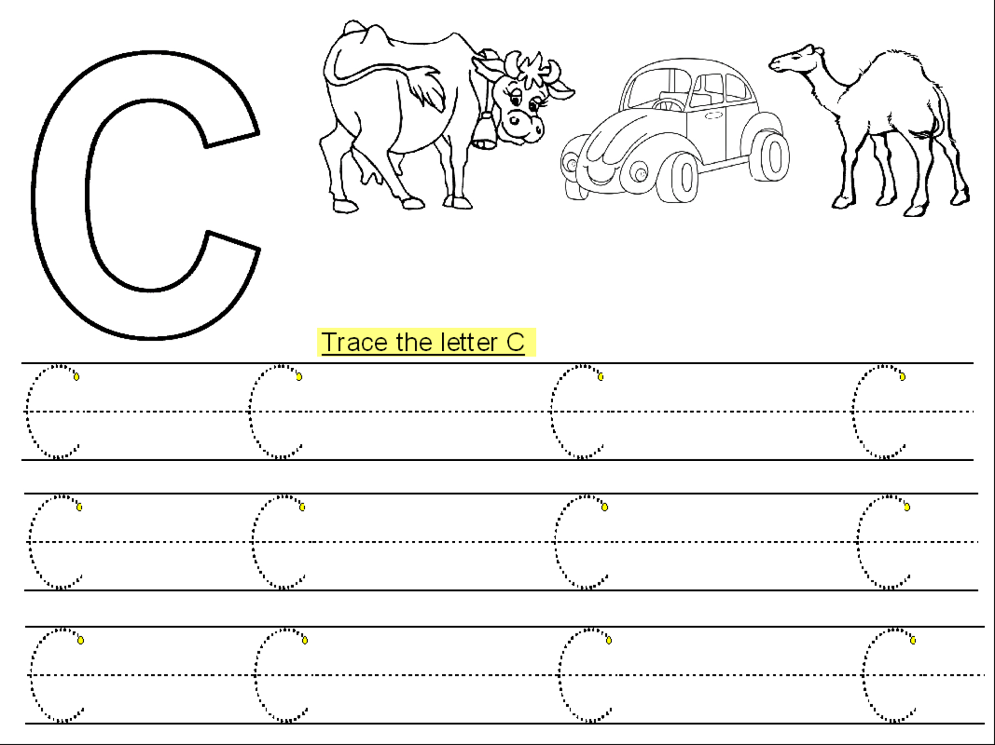 Trace Letter C Printable | Kiddo Shelter - Letter C Puzzle Printable