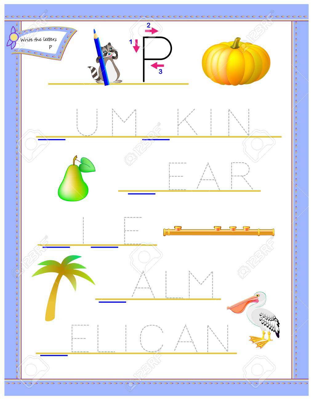 Tracing Letter P For Study English Alphabet. Printable Worksheet - Letter P Puzzle Printable