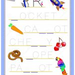Tracing Letter R For Study English Alphabet. Printable Worksheet For   Printable Puzzle For Kindergarten
