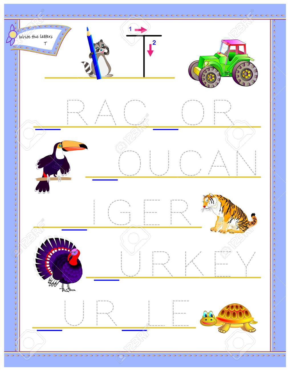 Tracing Letter T For Study English Alphabet. Printable Worksheet - Letter T Puzzle Printable