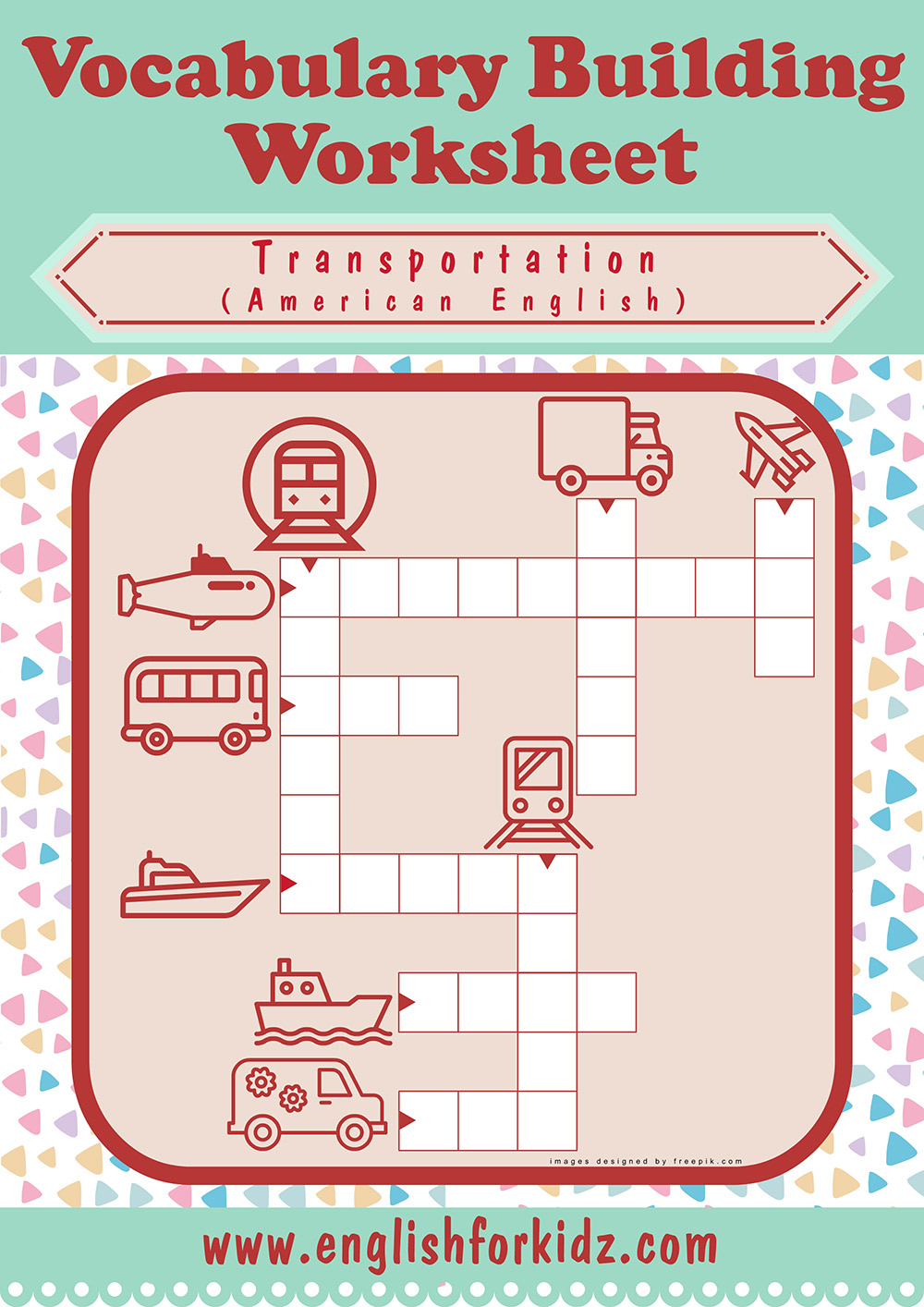 Transportation Worksheets: Crossword Puzzles - Printable Transportation Puzzles