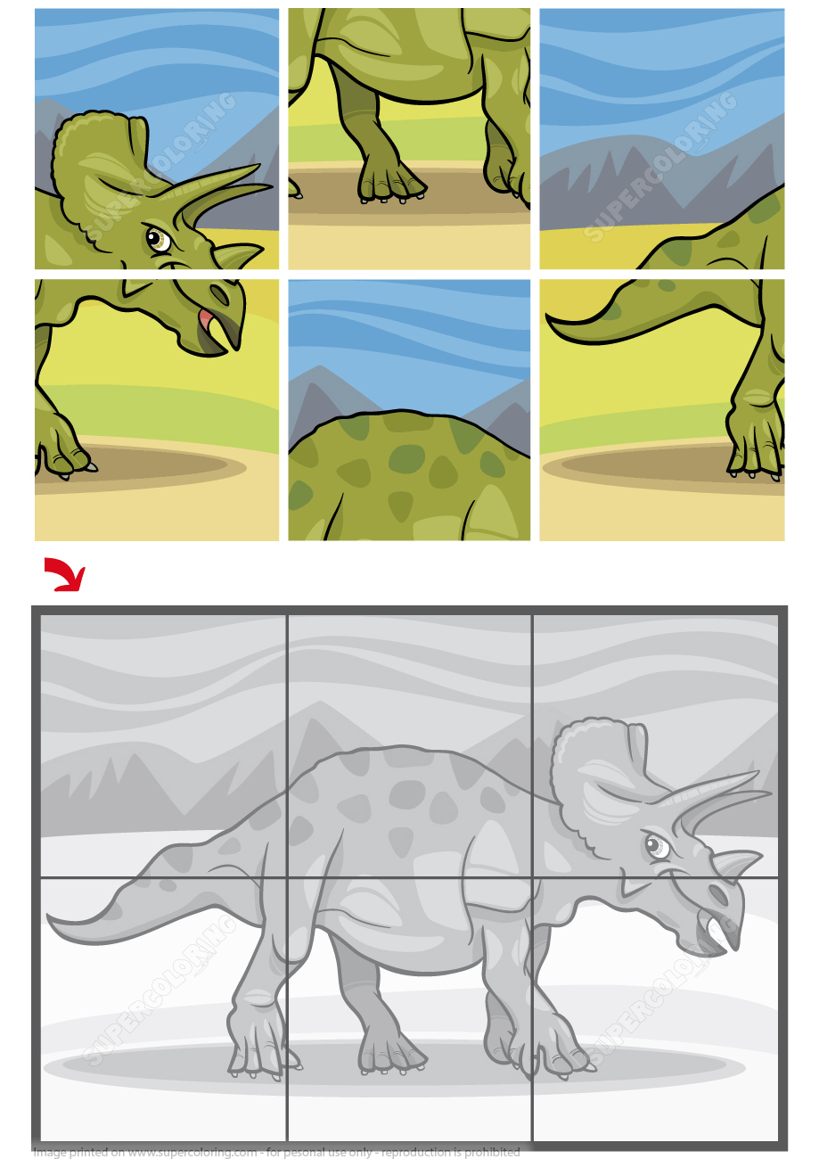 Triceratops Dinosaur Jigsaw Puzzle | Free Printable Puzzle Games - Printable Dinosaur Puzzle