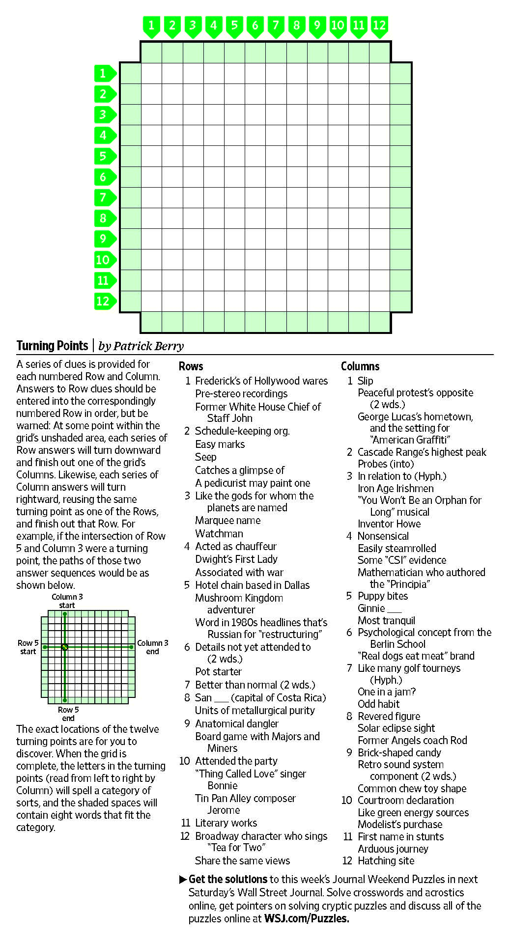 Turning Points (Saturday Puzzle, April 15) - Wsj Puzzles - Wsj - Wall Street Journal Crossword Puzzle Printable