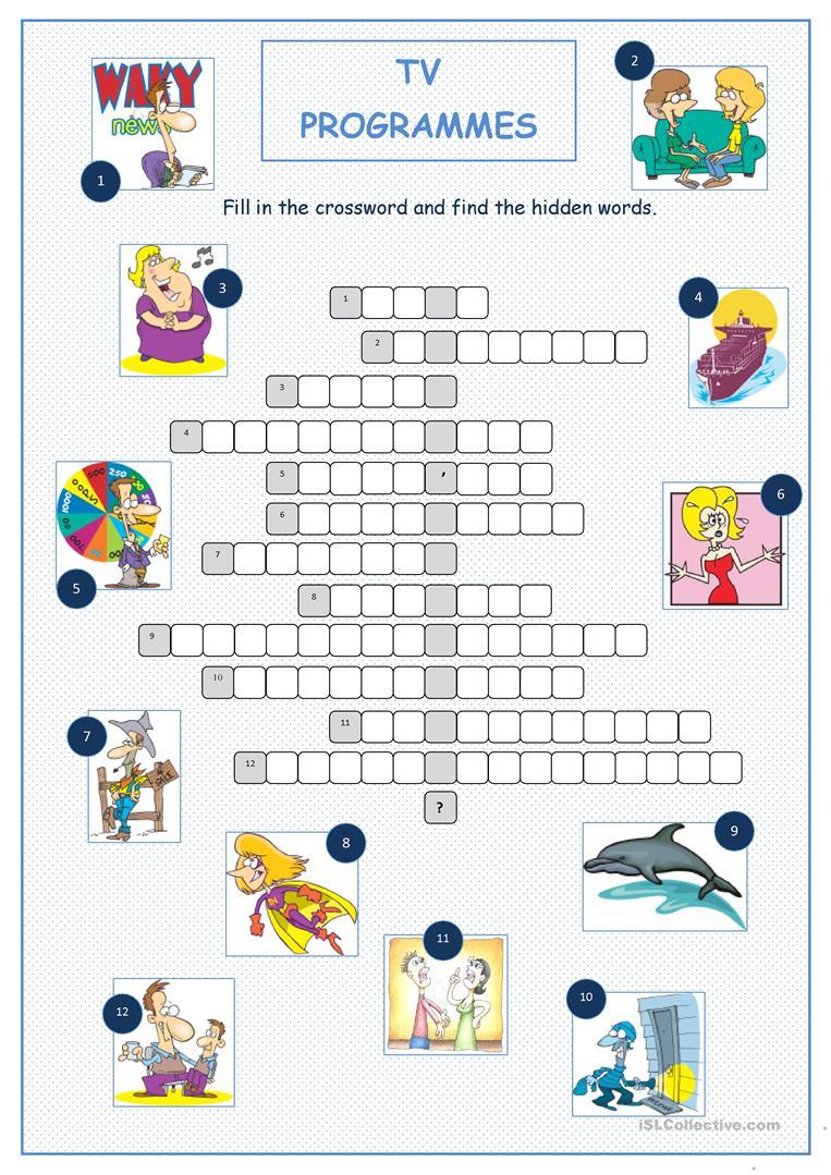 Tv Programmes Crossword Puzzle Worksheet - Free Esl Printable - Printable Crossword Puzzles Tv Shows