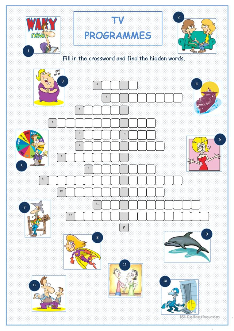 Tv Programmes Crossword Puzzle Worksheet - Free Esl Printable - Tv Show Crossword Puzzles Printable