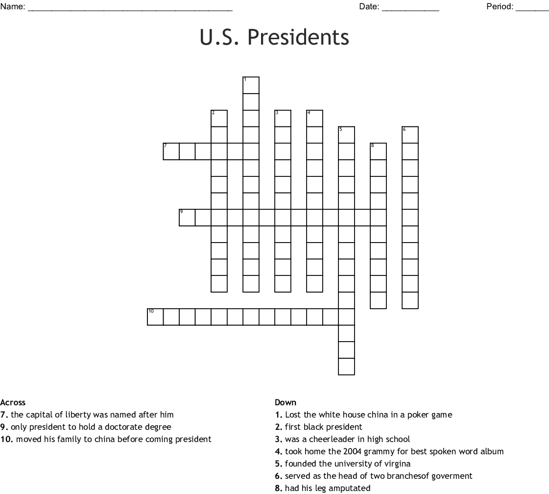 U.s. Presidents Crossword - Wordmint - Us Presidents Crossword Puzzle Printable