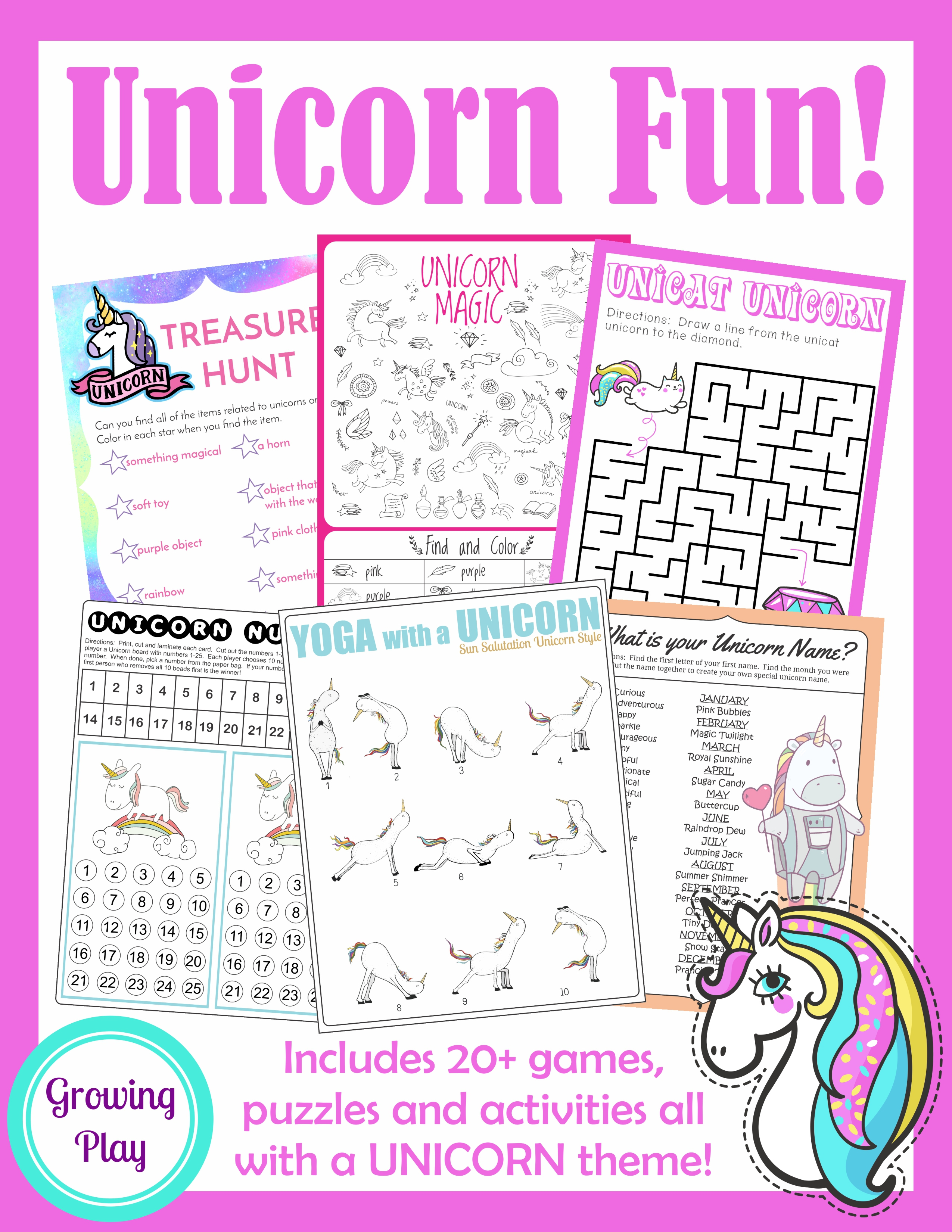 Unicorn Birthday Games Activities Puzzles - Growing Play - Printable Puzzle Packet