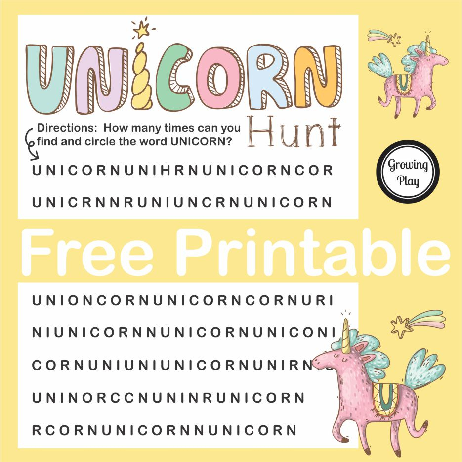 Unicorn Hunt Word Find Free Printable - Growing Play - Printable Unicorn Puzzle
