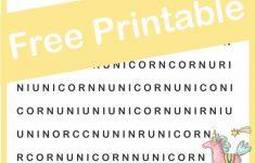 Unicorn Hunt Word Find Free Printable | Visual Perceptual Activities   Printable Unicorn Puzzle