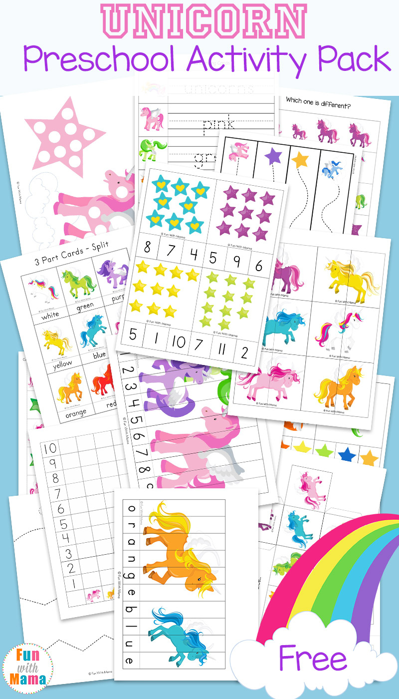 Unicorn Preschool Activity Pack - Fun With Mama - Printable Unicorn Puzzles