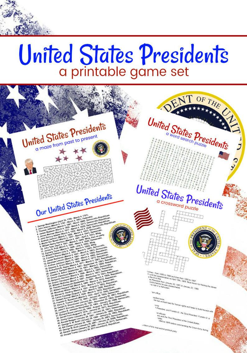 United States Presidents Printable Game Set Of 4 Crossword | Etsy - Presidents Crossword Puzzle Printable