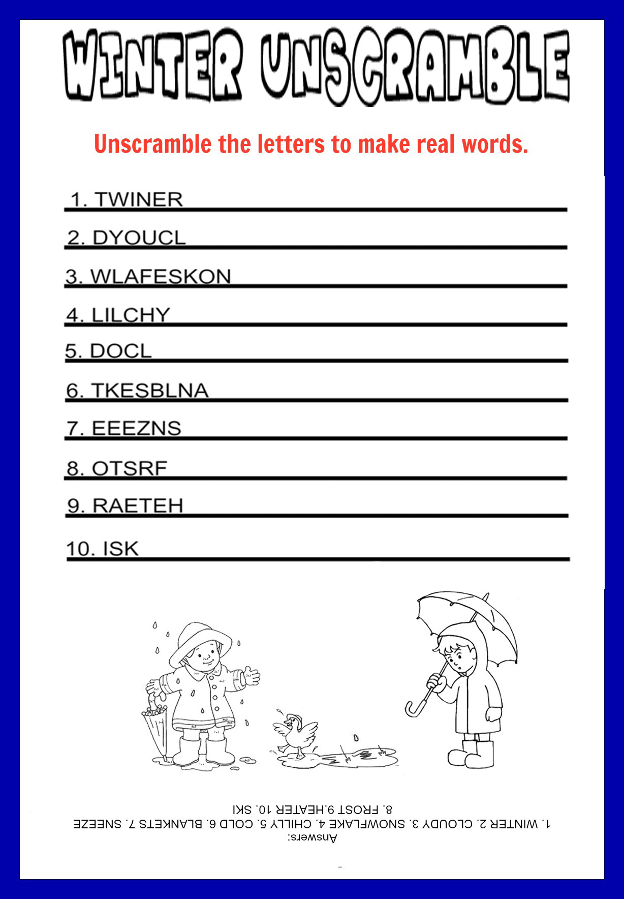 Unscramble - Printable - Kids Games - Printable Unscramble Puzzles