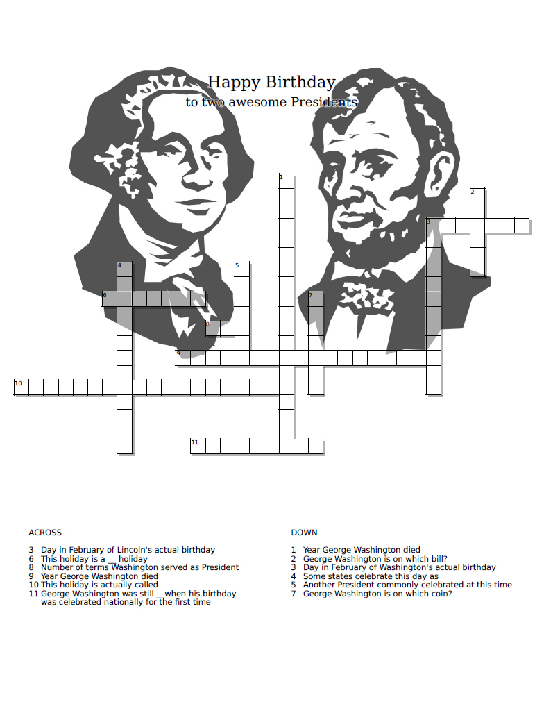 Untitled Document - Presidents Crossword Puzzle Printable