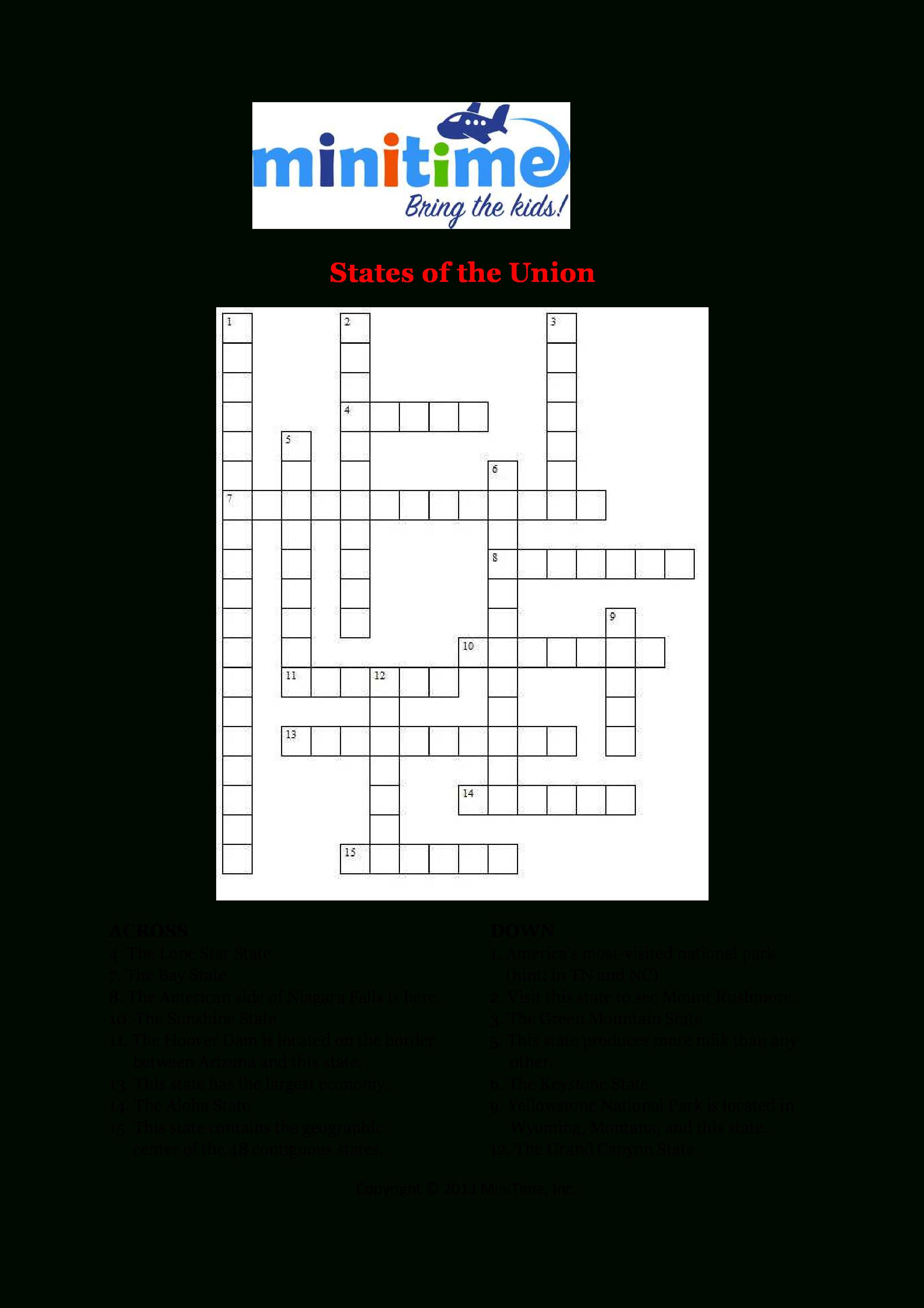 Us States Fun Facts Crossword Puzzles | Free Printable Travel - Printable Crossword Disney