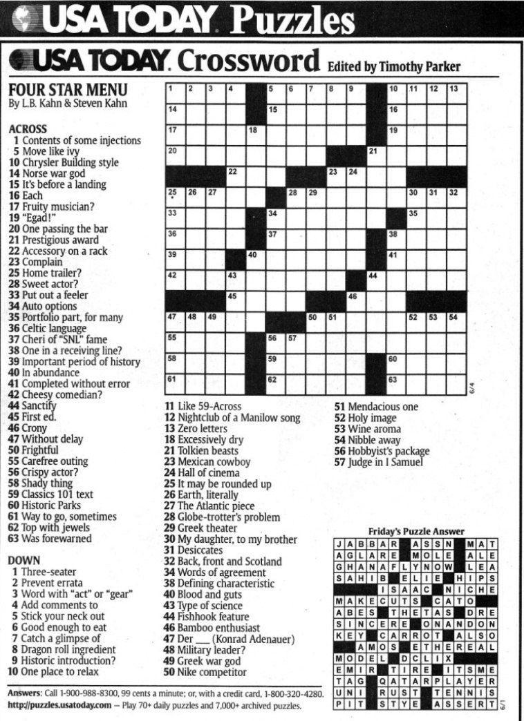 Usa Today Printable Crossword | Freepsychiclovereadings In Usa Today - Usa Printable Crossword Puzzles