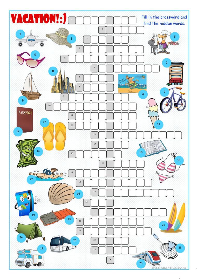 Vacation Crossword Puzzle Worksheet - Free Esl Printable Worksheets - Crossword Puzzles For Esl Students Printable