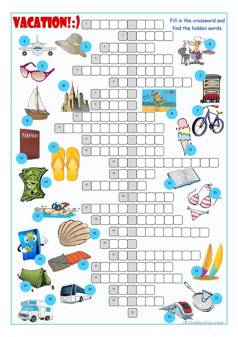Vacation Crossword Puzzle Worksheet - Free Esl Printable Worksheets - Printable Esl Crossword Worksheets