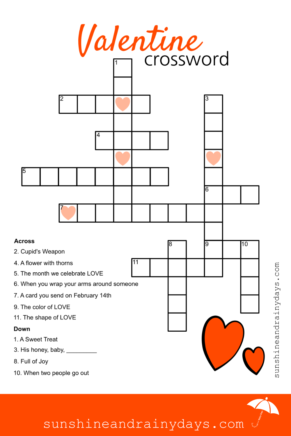 Valentine Crossword Puzzle - Sunshine And Rainy Days - Printable Crossword Puzzles About Love