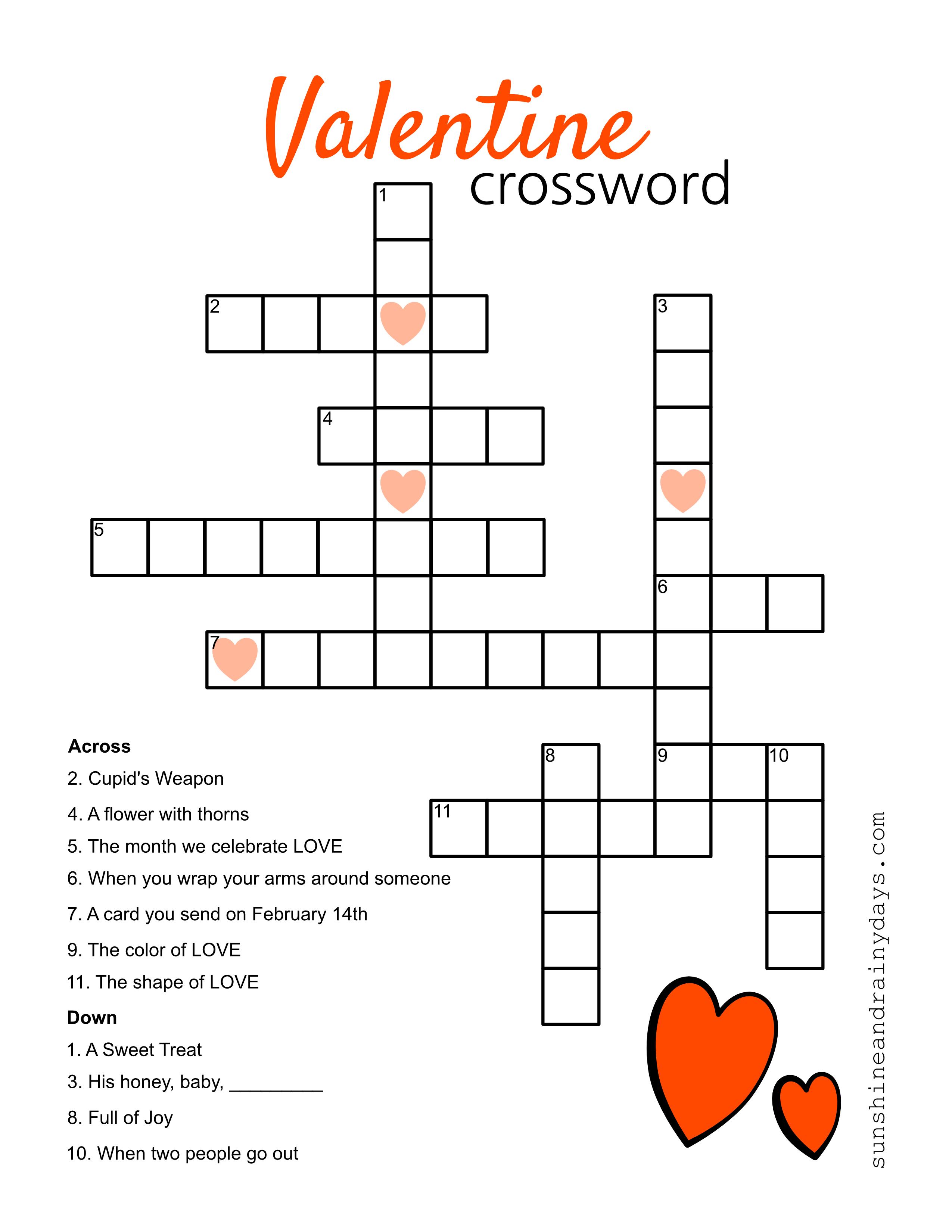 Valentine Crossword Puzzle - Sunshine And Rainy Days - Printable Valentines Crossword