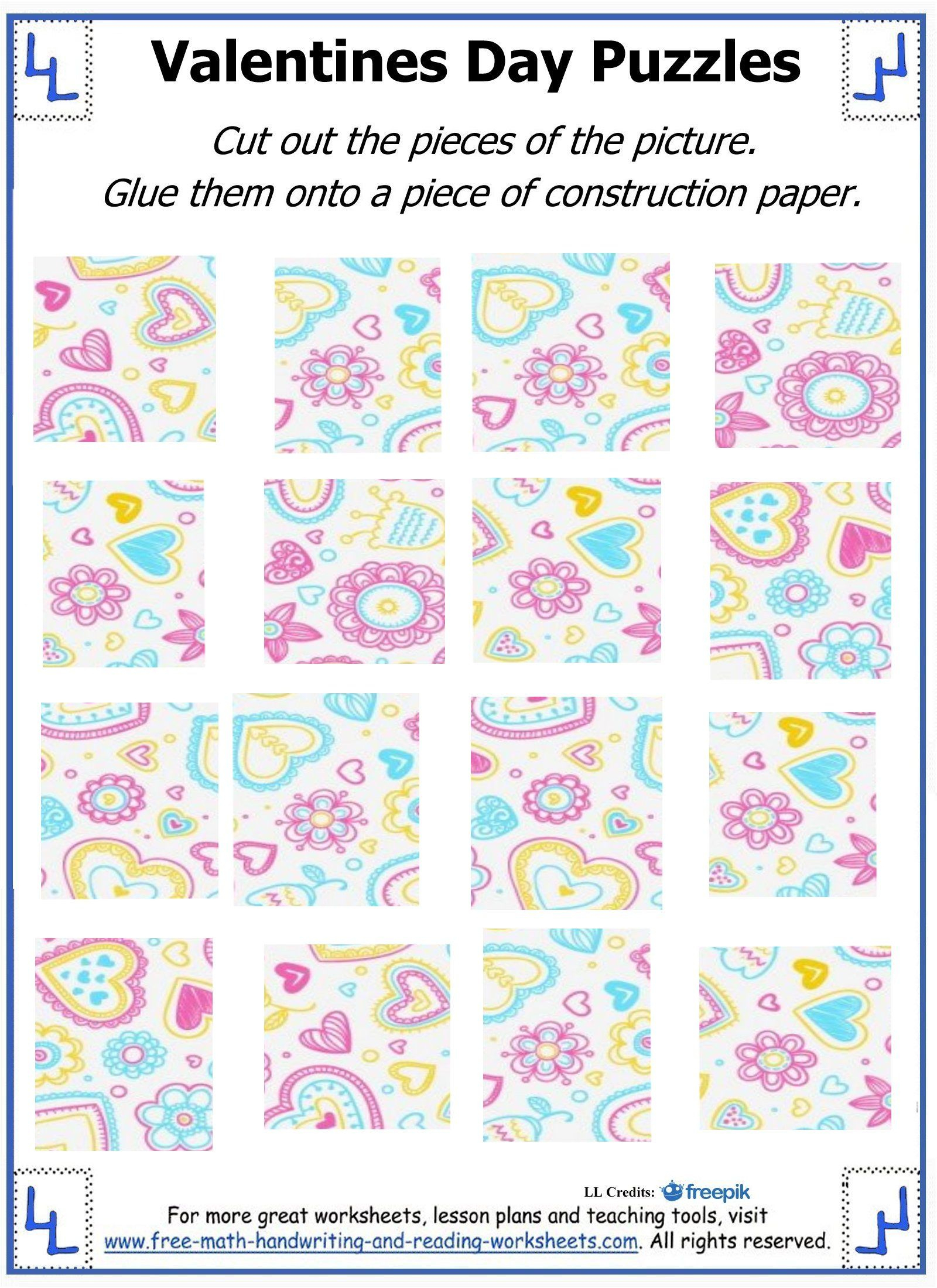 Valentine Day Puzzles - Printable Cut & Paste Puzzles | Valentine - Printable Reading Puzzles