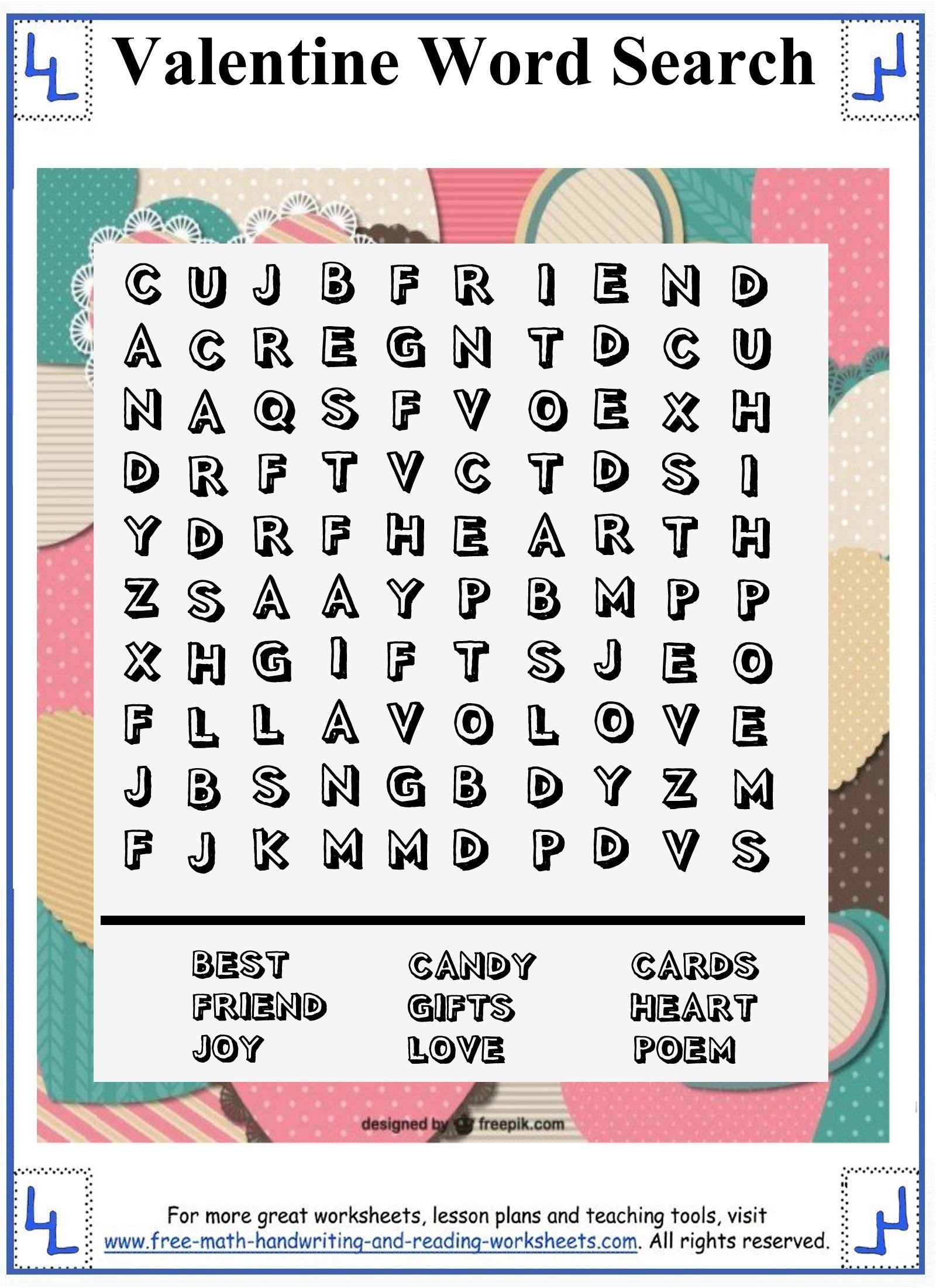 Valentine Word Search - Printable Puzzles - 10X10 Wordsearch Grid - Printable Christian Valentine Puzzles