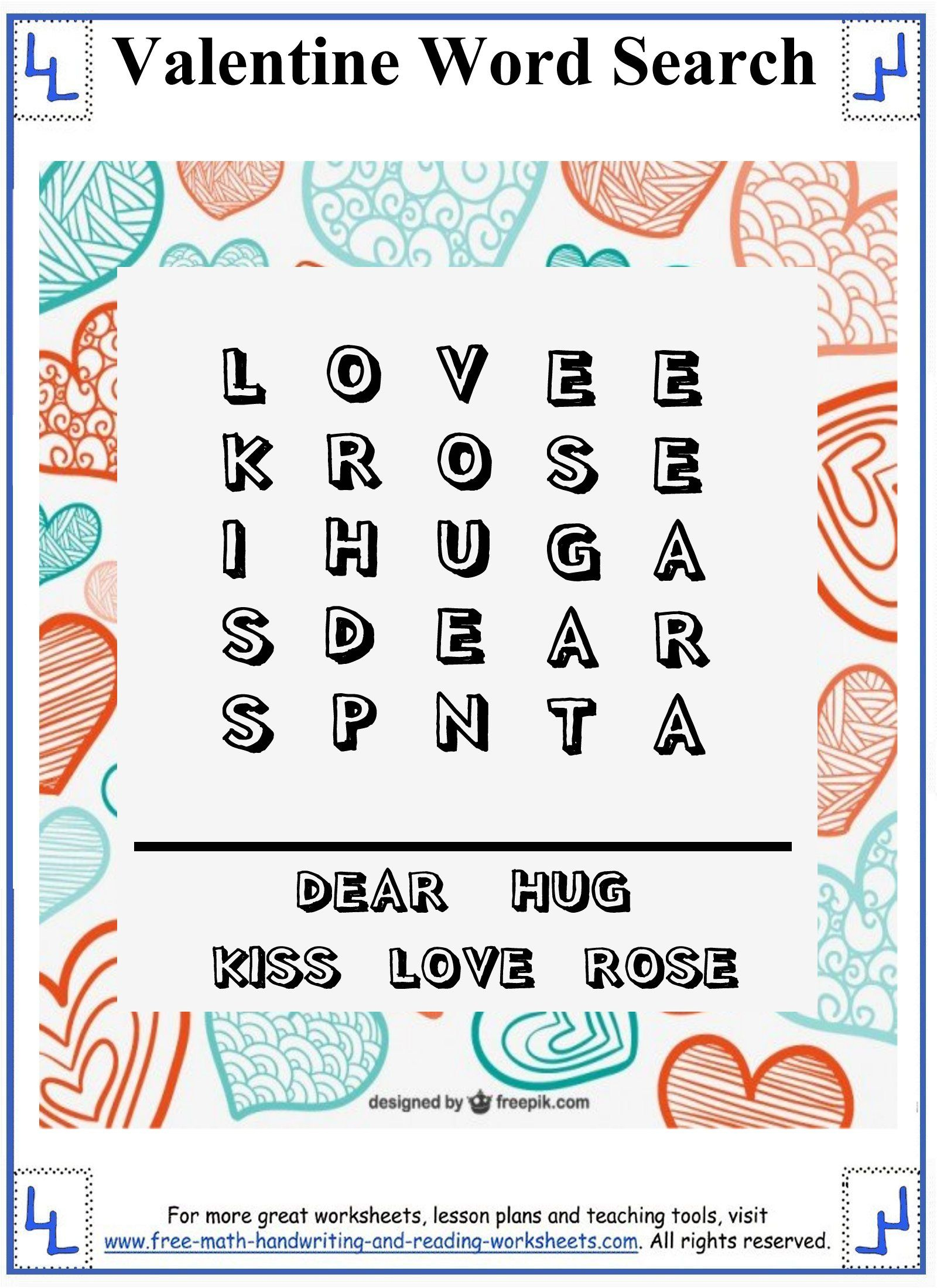 Valentine Word Search - Printable Puzzles - Easy 5X5 Grid For - Printable Valentine Puzzles For Adults