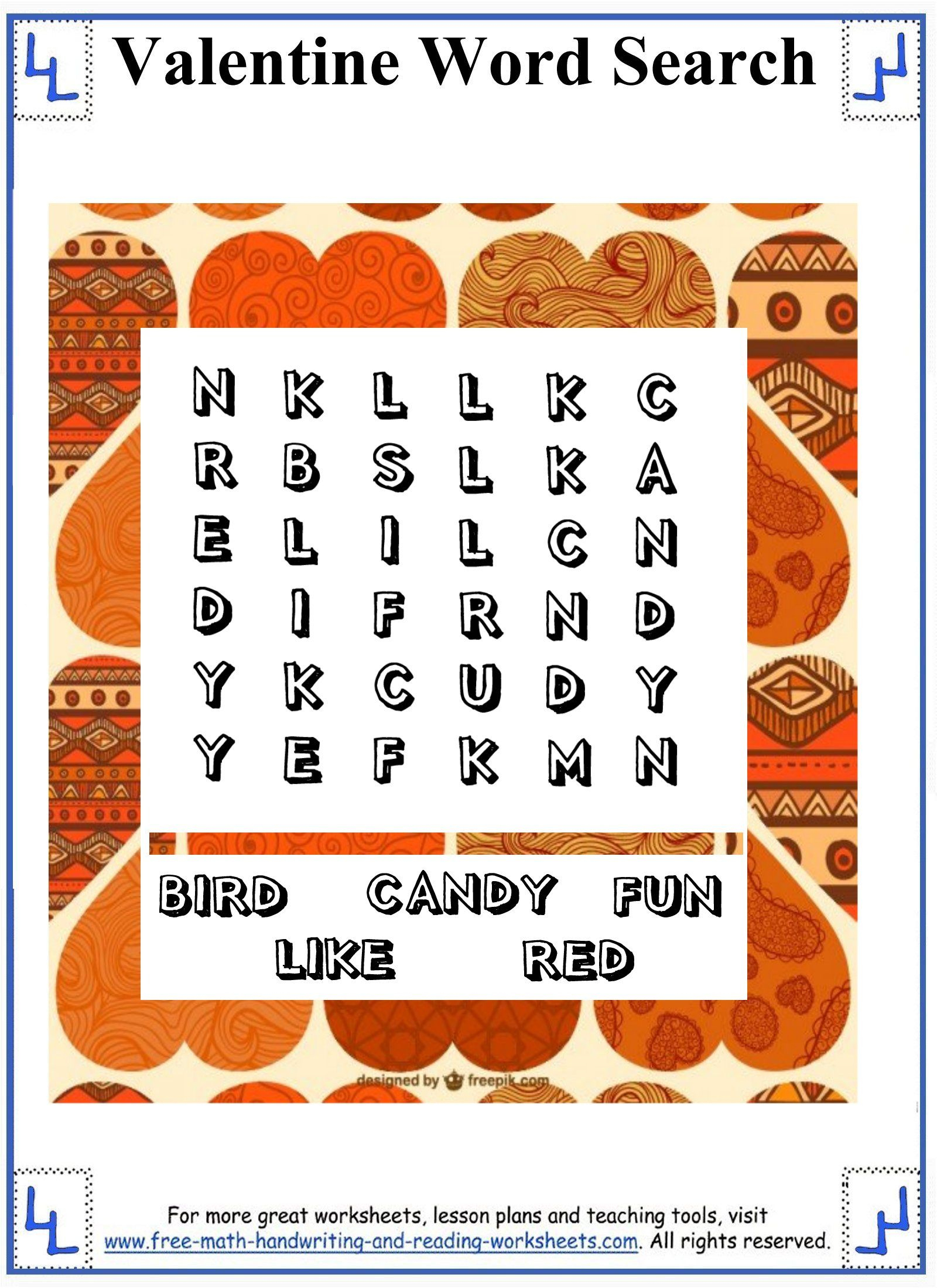 Valentine Word Search - Printable Puzzles - Small Word Search Grid - Printable Puzzles For First Grade