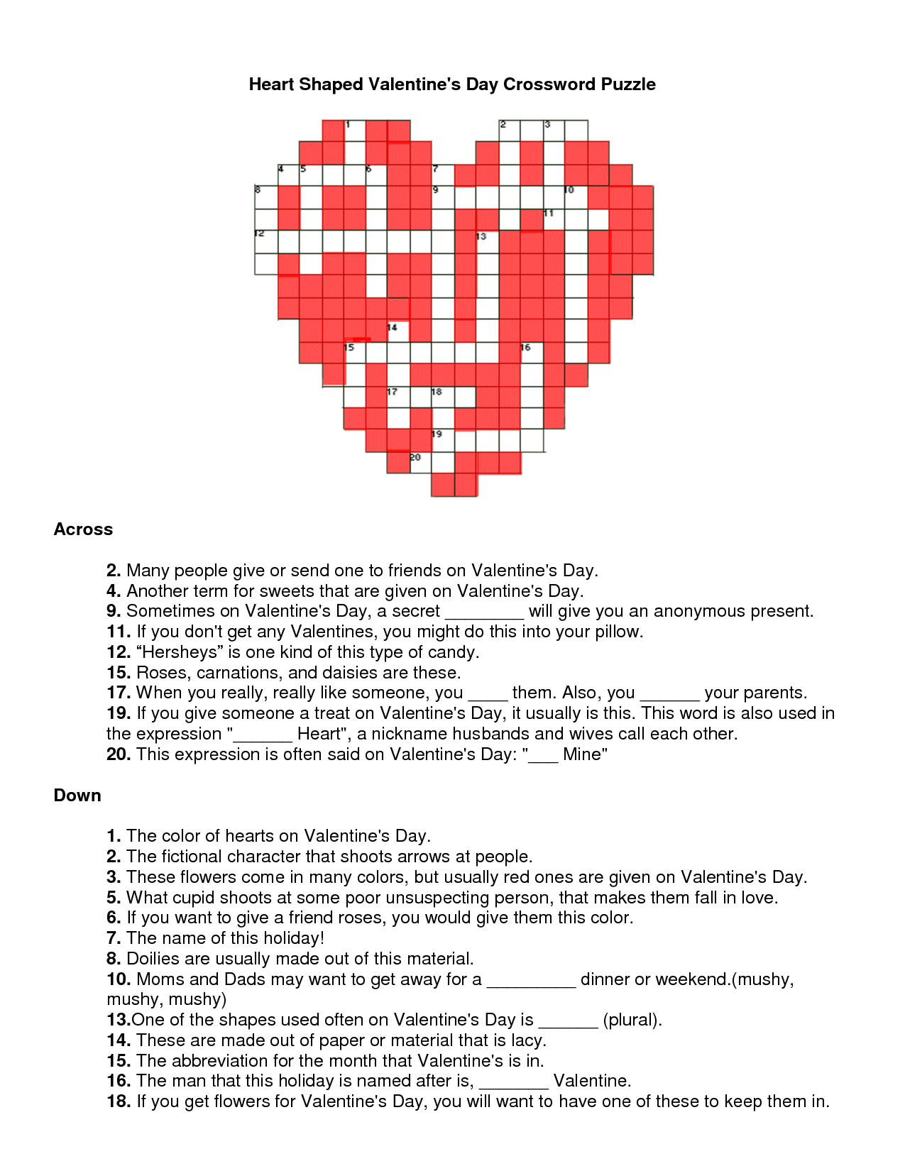 Valentines Day Crossword Puzzle | Will You Be My Valentine - Printable Valentine Crossword Puzzle