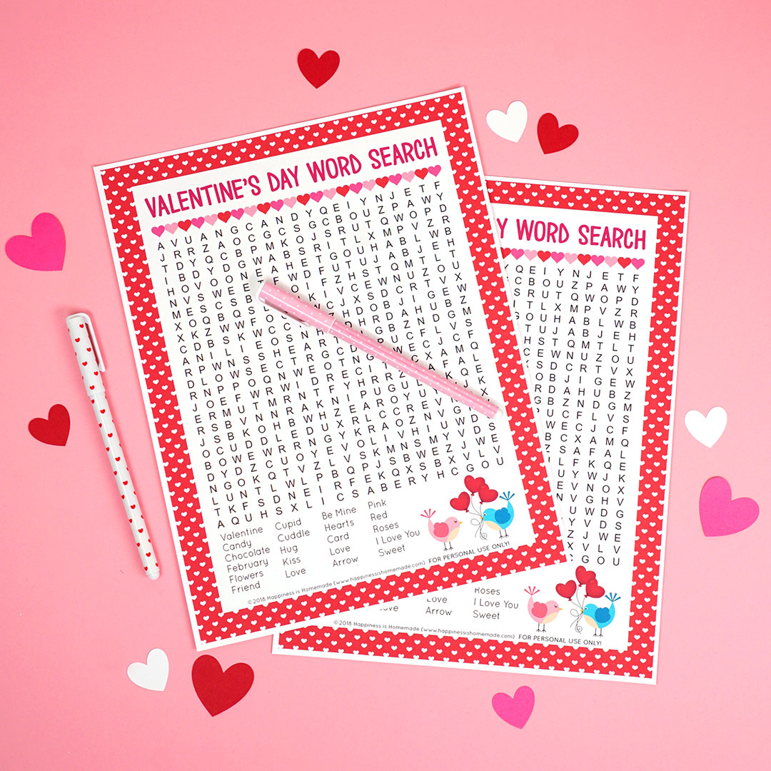 Valentine's Day Word Search Printable - Happiness Is Homemade - Printable Valentine Puzzles For Adults