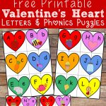 Valentine's Heart Letters And Phonics Puzzles Free Printable   Free Printable Valentine Puzzles For Adults