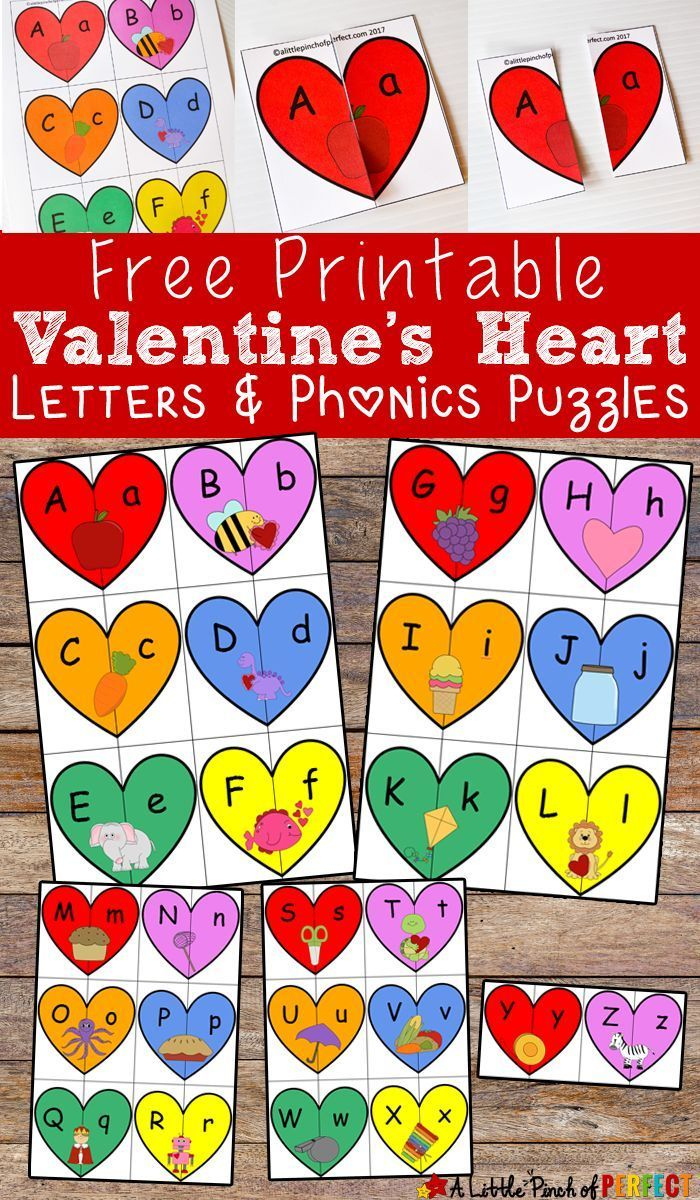 Valentine's Heart Letters And Phonics Puzzles Free Printable - Printable Phonics Puzzles