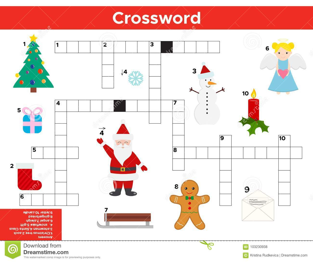 Vector Christmas, New Year Crossword In English. Stock Vector - New Year Crossword Puzzle Printable