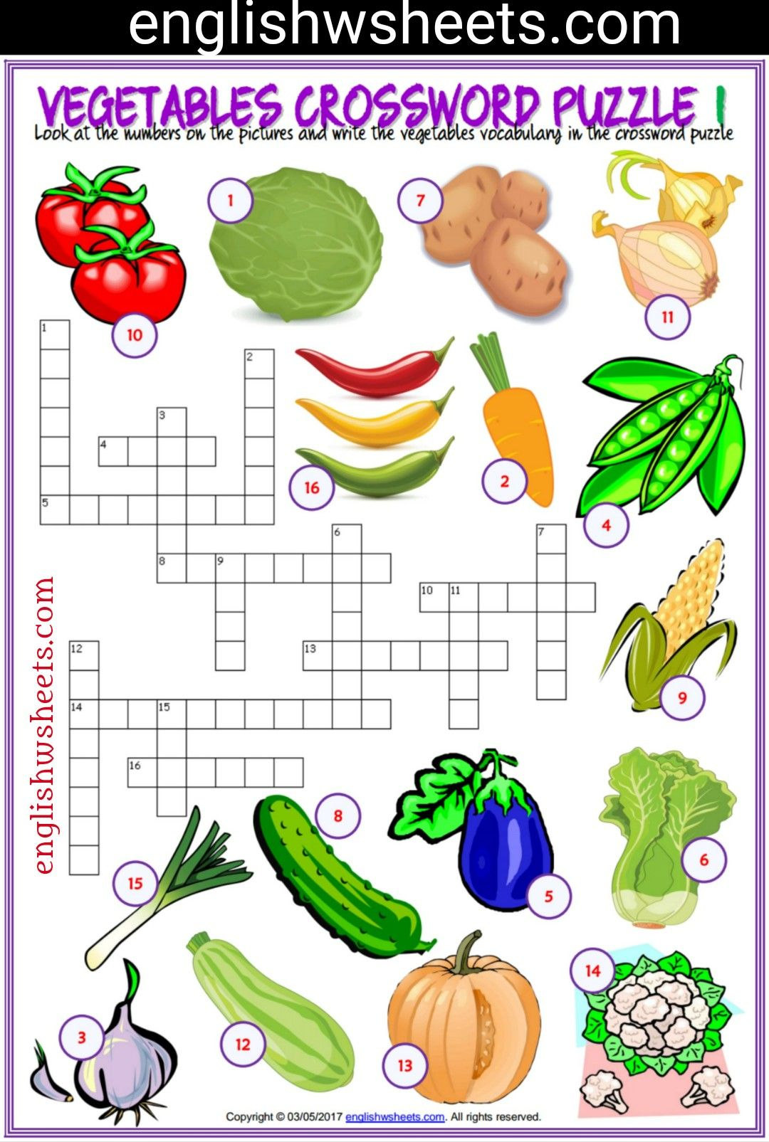 Vegetables Esl Printable Crossword Puzzle Worksheets For Kids - Printable Crossword Esl