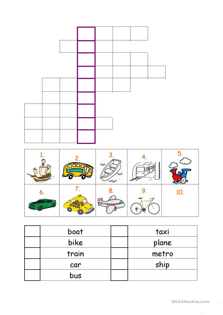 Vehicles Worksheet Worksheet - Free Esl Printable Worksheets Made - Printable Crossword Metro
