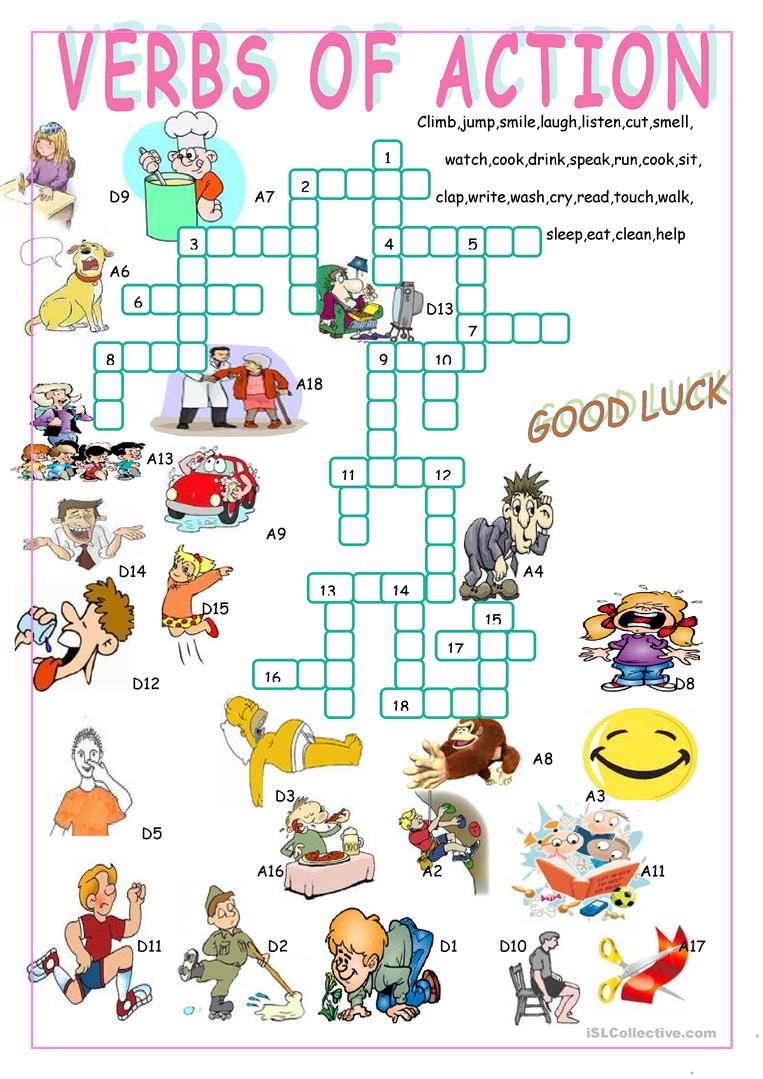 Verbs Of Action//crossword Puzzle Worksheet - Free Esl Printable - Printable Grammar Crossword Puzzles
