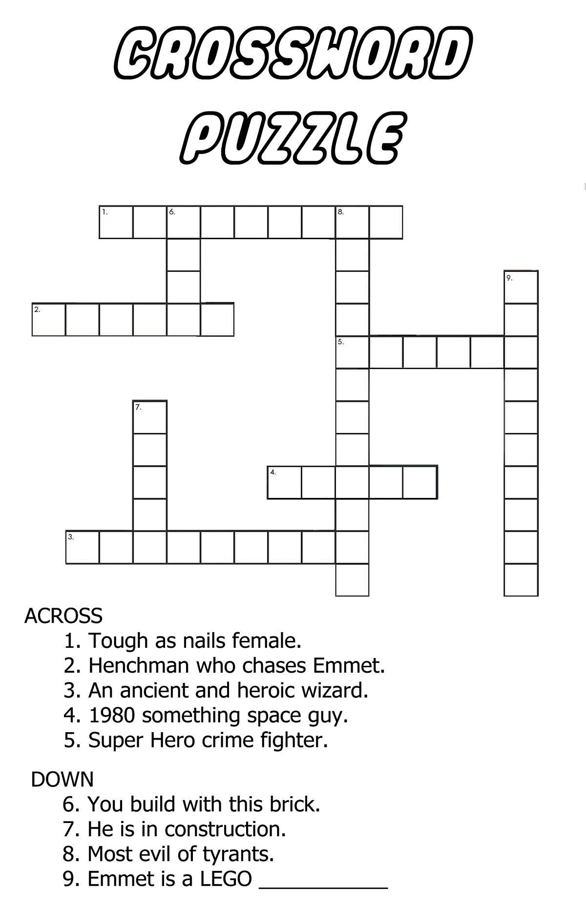 Very Easy Crossword Puzzles Fun   Kiddo Shelter - Easy Crossword Puzzles Printable For Kids