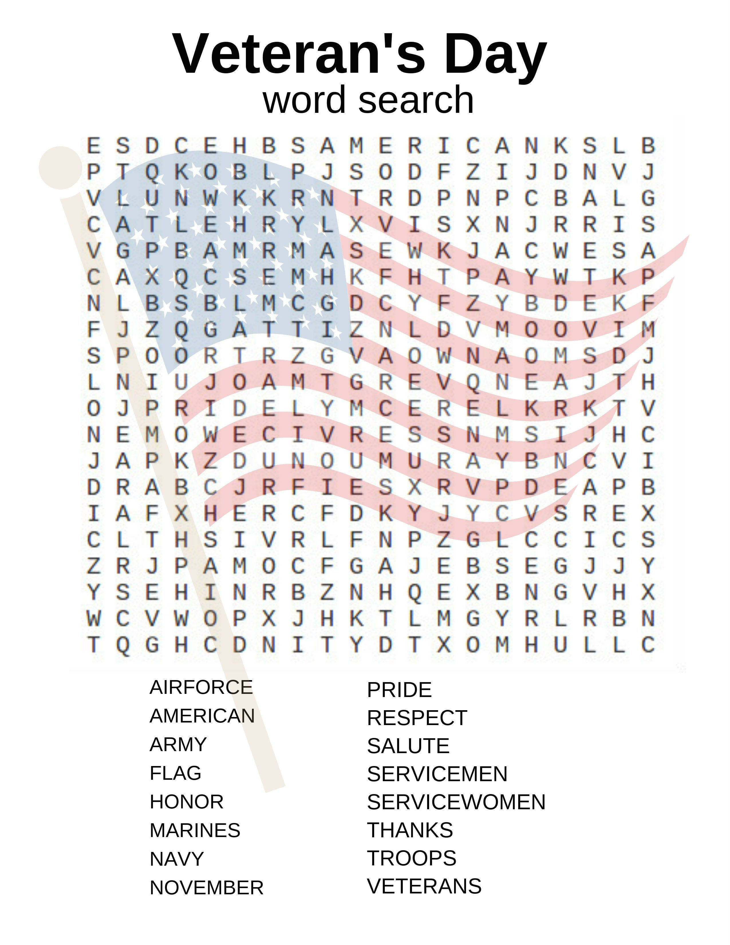 Veteran's Day Word Search And Other Activities! | Crafts And Fun - Printable Military Crossword Puzzles