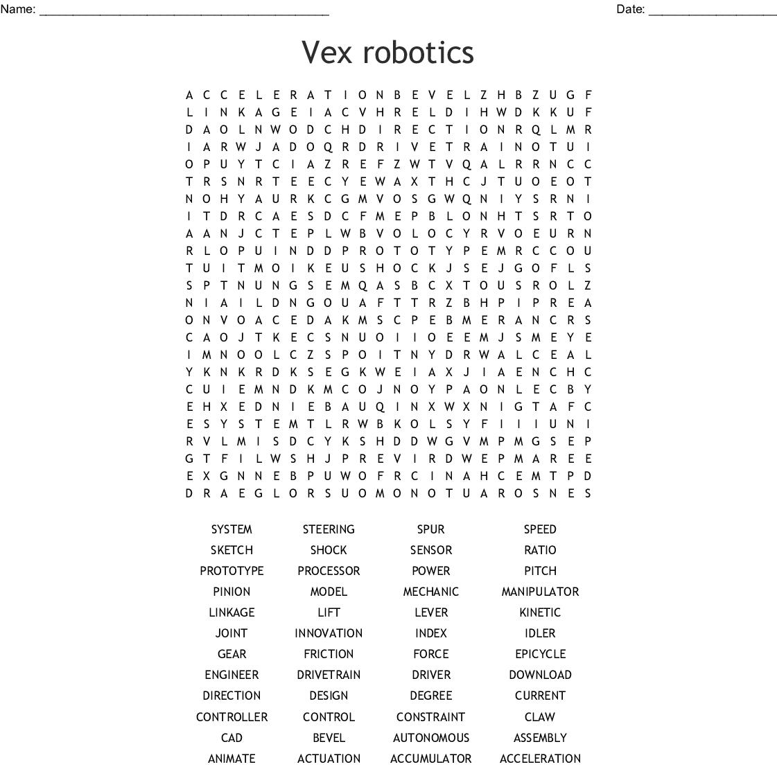 Vex Robotics Word Search - Wordmint - Free Printable Crossword Puzzles Robotics