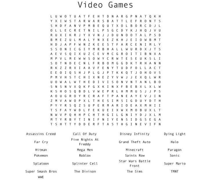 Printable Video Game Crossword Puzzles