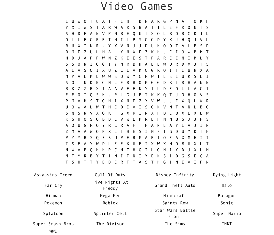 Video Games Word Search - Wordmint - Printable Video Game Crossword Puzzles